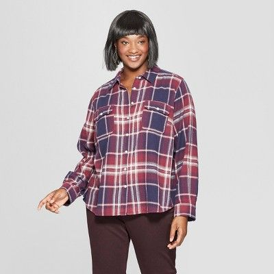 20589770 Women's Plus Size Plaid Long Sleeve Flannel Shirt - Universal Thread ...