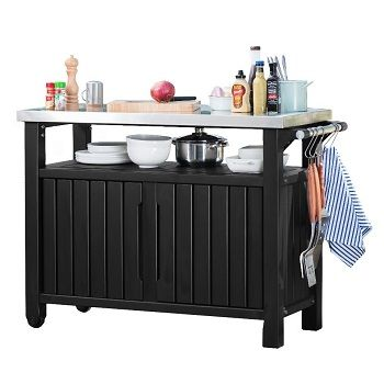 Keter Unity Xl Barbecue Accessory Trolley Stand Double Anthracite Grill Table Bar Serving Cart Indoor Outdoor Kitchen