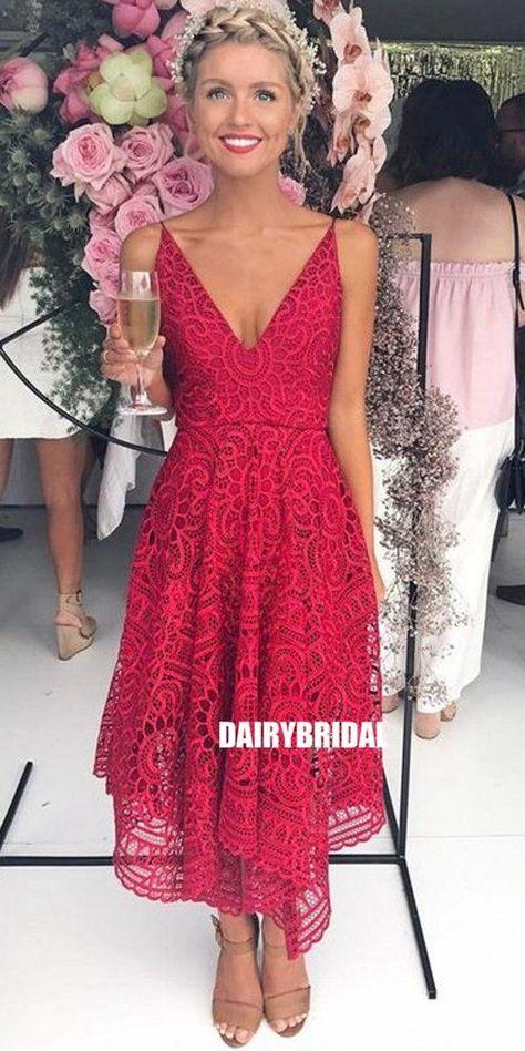 Spaghetti Straps V-Neck Bridesmaid Dress, Red Lace Bridesmaid Dress #bridesmaiddresses #bridesmaiddress #bridesmaids #dressesformaidofhonor #weddingparty #2021bridesmaiddresses #2021wedding