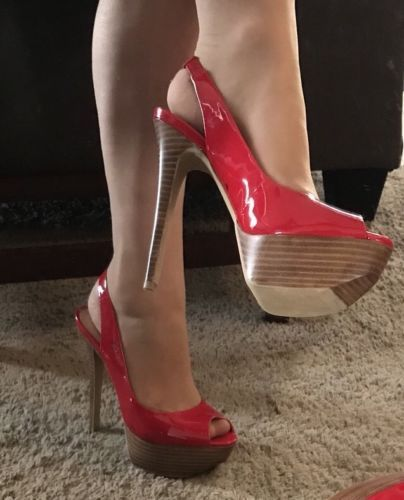 910715e0bd1b Jessica Simpson Halie Red Patent Leather Peep-Toe Platform Slingback  Stilettos 8