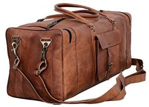 New Men/'s duffel Lightwieght genuine Leather large vintage travel gym Squre bag