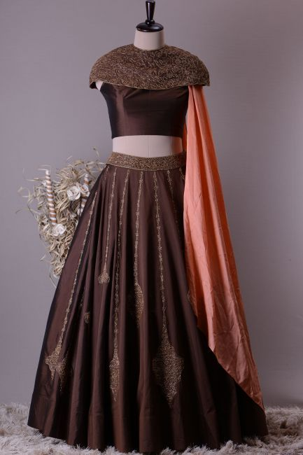 Buy Chocolate Brown Silk Cutdana Embroidered Crop Top Lehenga Online Crop Top Wedding Dress Indian Combination Dresses Crop Top Dress