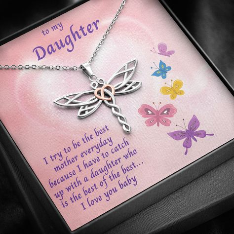Daughter Necklace Gift, Dragonfly Necklace, Gift For Daughter, Daughter Gold Jewelry, Necklace With Message Card