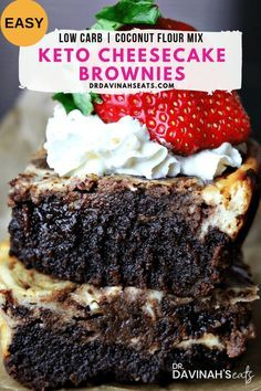 These Keto Cheesecake Brownies are easy to make moist fudgy and completely grain-free. To keep this easy I included a low carb brownie mix made with coconut flour that I purchased. Overall these are perfect if you're searching for kid-friendly keto food easy keto date night dinner desserts or easy keto desserts that you won't believe are keto-friendly and no sugar added! #keto #ketodessert #lowcarb #lowcarbdessert #nosugaradded #grainfree #coconutflour  These Keto Cheesecake Brownies are easy to
