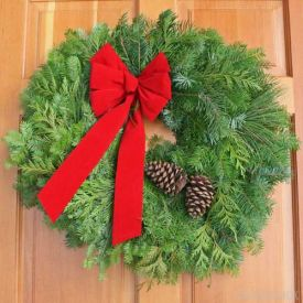 Decorate your door this holiday season with a beautiful wreath of fresh cut Christmas Greens! The Mixed Woodland Wreath from The Grower's Box consists of Grand Fir, Cedar and Pine and is adorned with pine cones and a hand-tied bow! Visit GrowersBox.com for more information!