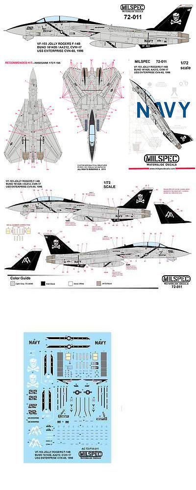 Milspec Decal Ms 72 011 1 72 Scale F 14b Tomcat Vf 103 Jolly Rogers Jolly Roger Decals Jolly