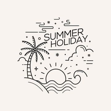 Summer Holiday Flat Style With Line Art Vector Illustration Line Logo Art Png And Vector With Transparent Background For Free Download Line Art Vector Beach Illustration Line Art