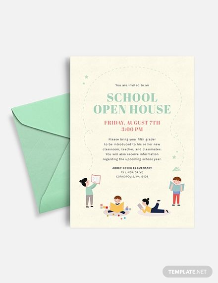 School Open House Invitation Template Free Jpg Illustrator Word Apple Pages Psd Publisher Template Net Open House Invitation Graduation Open House Invitations Graduation Party Invitation Wording