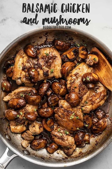 A quick buttery balsamic pan sauce brings a ton of flavor to these Balsamic Chicken and Mushrooms without a lot of work. Perfect for weeknight dinners! Turkey Recipes, Meat Recipes, Cooking Recipes, Healthy Recipes, Recipies, Healthy Nutrition, Healthy Fats, Healthy Mushroom Recipes, Healthy Weight Loss