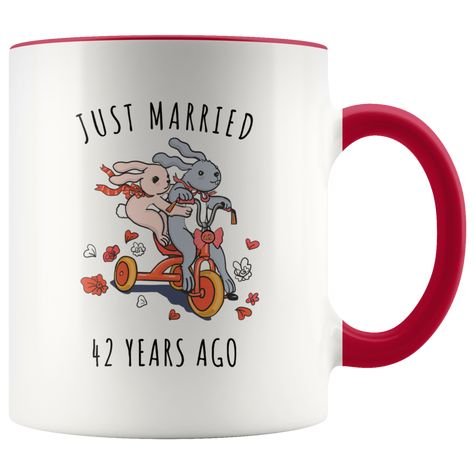 Just Married 42 Years Ago 42nd Wedding Anniversary Gift Accent Mug