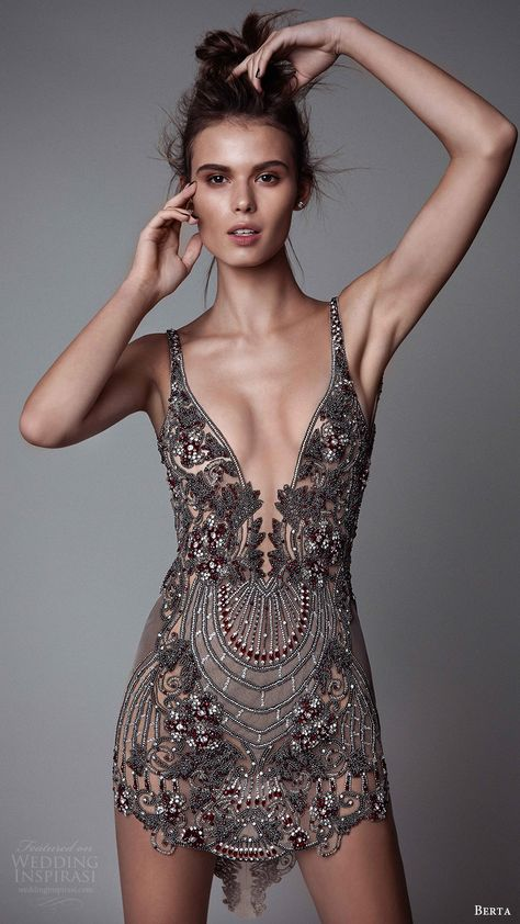 berta rtw fall 2017 (17 15) sleeveless v neck mini dress embellished mv