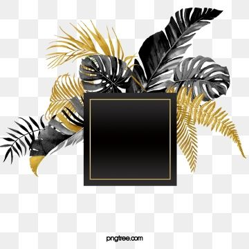 Hand Painted Luxury Black Gold Plant Square Border Gold Leaf Floral Background Hand Painted Black And Gold Marble