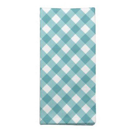 Preppy Teal Gingham Plaid Pattern Cloth Napkin Zazzle Com Plaid Pattern Clothing Patterns Cloth Napkin