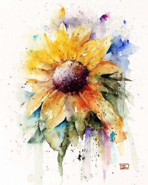 SUNFLOWER Watercolor Flower Print By Dean Crouser by DeanCrouserArt on Etsy