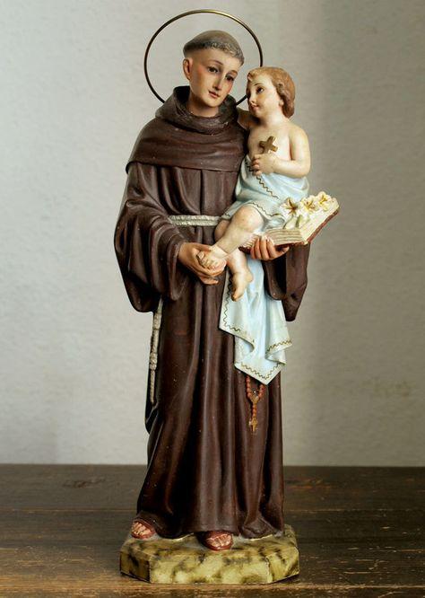 Etsy のThe Infant Jesus with Saint Anthony of Padua Statue Santo António de Lisboa Spain Olot Religious Art Antique/718(ショップ名:GliciniaANTIQUE)