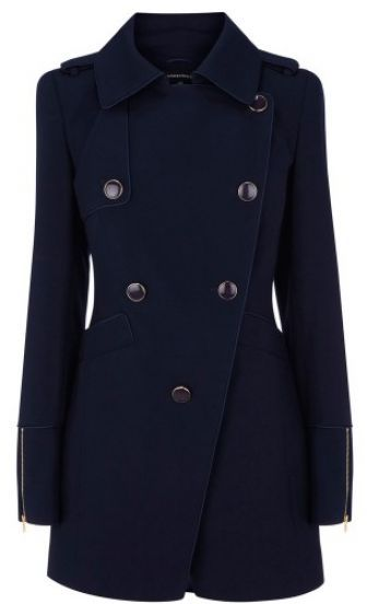 SheIn offers Navy Notch Lapel Zip Embellished Long Sleeve Military Coat & more to fit your fashionable needs.