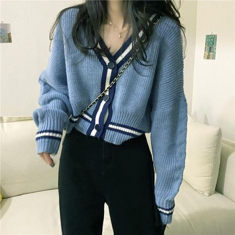 Sweater v-neck knitted cardigan coat cropped top - One-size / Blue