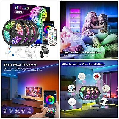 Nexillumi 50ft Led Strip Lights With Ir Remote Ultra Long Led Lights For Bedroom Ebay In 2020 Led Strip Lighting Strip Lighting Led Lights