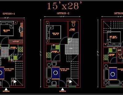 House Space Planning 15 X30 Floor Layout Dwg File 3 Options Space Planning Floor Layout Architectural Floor Plans