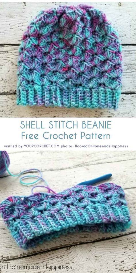 Emerald And Ochre Shell Stitch Beanies Crochet Shell Stitch