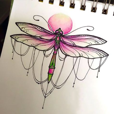 Brilliant pink dragonfly for women.