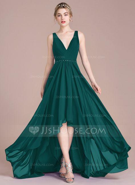 43128f7433 A-Line Princess V-neck Asymmetrical Chiffon Bridesmaid Dress With Ruffle  Beading Sequins (007105582) - Bridesmaid Dresses - JJsHouse