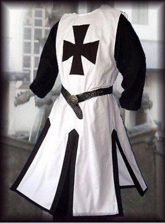 MEDIEVAL Black TEMPLAR KNIGHT Tunic Surcoat Crusader Sleeveless Renaissance SCA