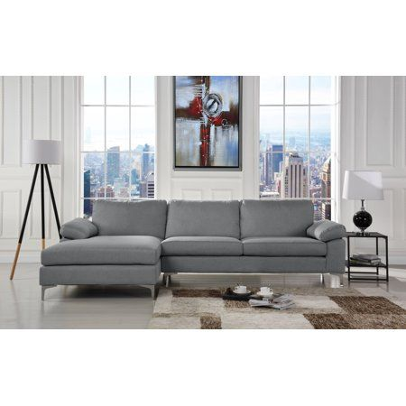 Modern Large Linen Fabric Sectional, Large Sectional Sofa With Chaise Lounge