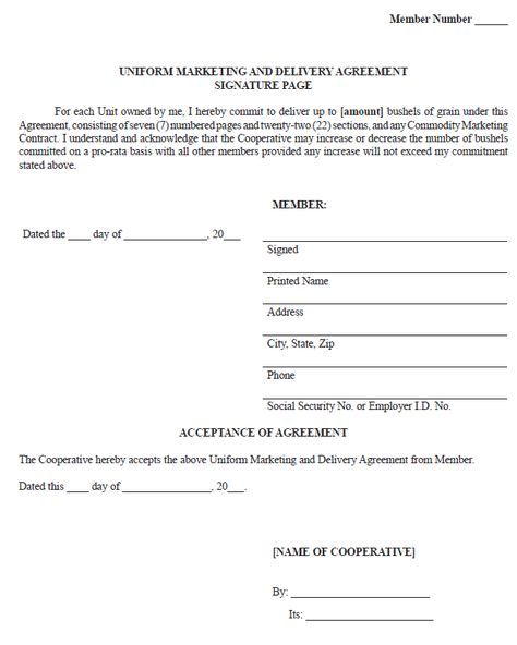 Sample Uniform Marketing and Delivery Agreement Ag Decision - marketing agreement template
