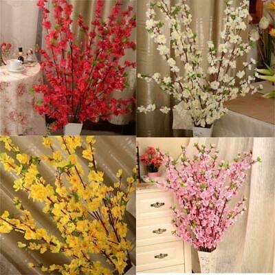 5PCS Artificial Cherry Peach Blossom Branch Fake Silk Flower Tree Home kit Decor