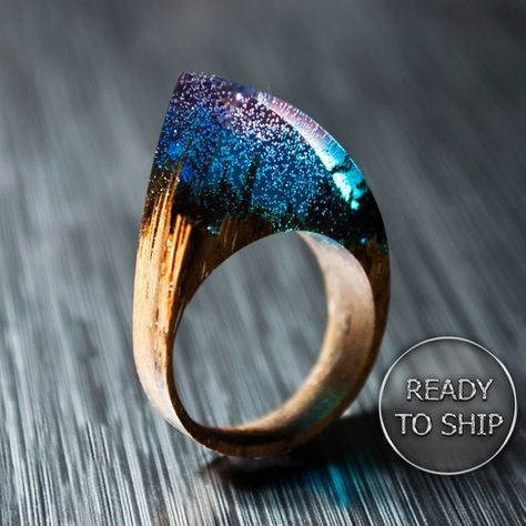 Gift for Women Resin Rings Gift for Her Wood Ring Statement Ring Wood Jewelry Unique Gift Birthday Clothes Gift Wooden Ring Boho Ring - Resin ring made of exotic wood and epoxy resin. Perfect gift for women.