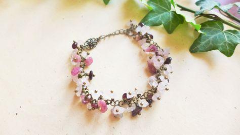 Bracelet quartz rose tourmaline rose grenat : Bracelet par verveine-citron