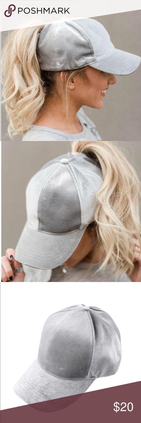 Gray Velvet High Ponytail Baseball Cap Hat New Solid Color Velvet Ponytail  Baseball Cap. 100% Polyester Accessories Hats 4086dfd27c74