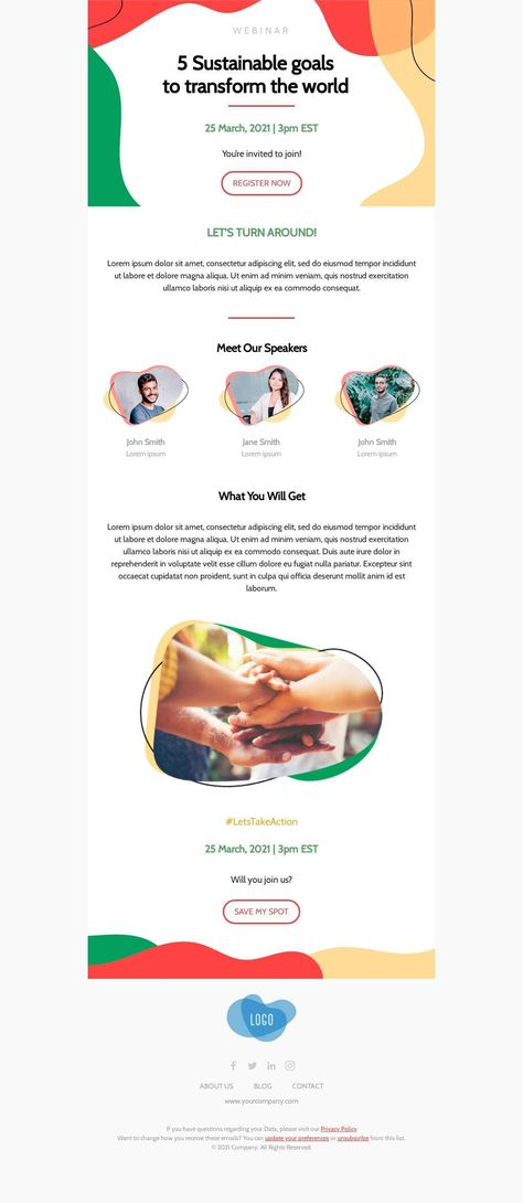5 Sustainable goals to transform the world! - Email Template