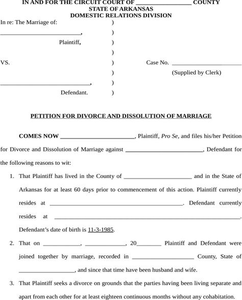 Download And Create Your Own Document With Arkansas Dissolution Of Marriage Form 32kb 13 Page S Petition For Divorce Dissolution Of Marriage Divorce Papers