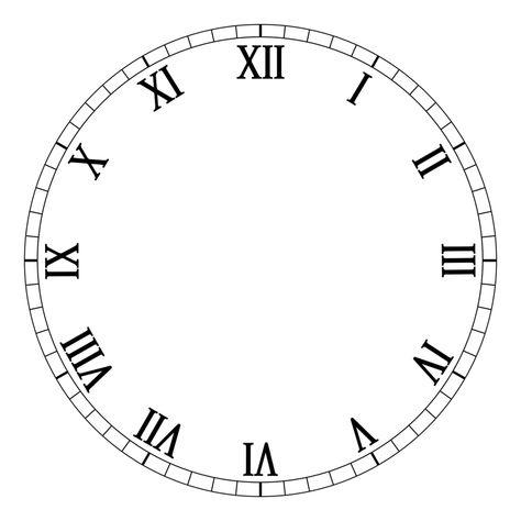 1 12 Roman Numerals Clock Face Clock Face Printable Clock Template Clock Face