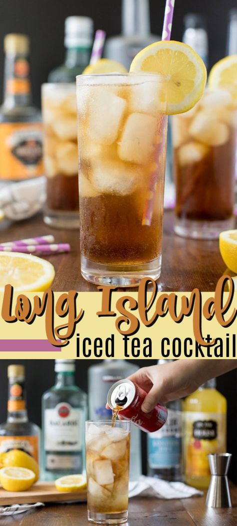 A Long Island Iced Tea gets its name from the amber color created by mixing tequila, rum, vodka, triple sec, and sweet a Iced Tea Recipes, Alcohol Drink Recipes, Cocktail Recipes, Triple Sec, Long Island Tea, Long Island Iced Tea Mix Recipe, Coca Cola, Gin, Strawberry Banana Milkshake
