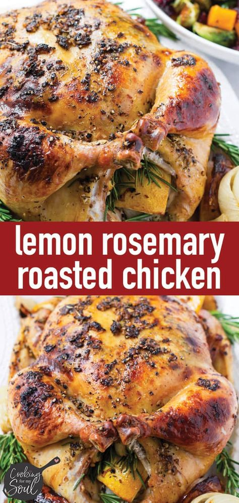 This lemon rosemary roasted chicken is juicy, tender, and packed with flavor. The lemon zest and fresh rosemary make this whole chicken so delicious. Whole Chicken In Oven, Whole Chicken Recipes Oven, Roast Chicken Recipes, Roast Chicken And Stuffing, Roast Chicken On The Grill, Roaster Oven Recipes Chicken, Roasting Chicken In Oven, Whole Roast Chicken Recipe, Stuffed Whole Chicken