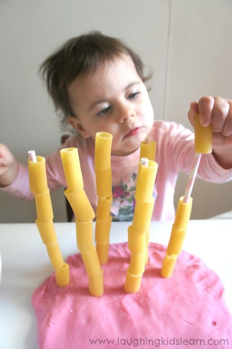 Pasta threading activity for toddlers – Laughing Kids Learn Threading pasta onto straws for fine motor skill development Motor Skills Activities, Toddler Learning Activities, Games For Toddlers, Montessori Activities, Infant Activities, Kids Learning, Activities For Kids, Toddler Activity Board, Montessori Toddler
