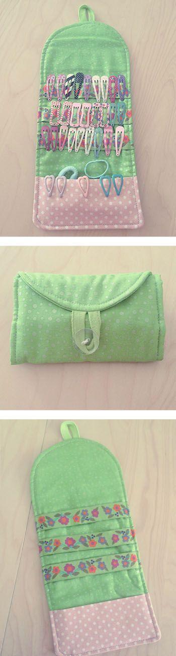 DIY Haarspangen Tasche.  Super Lösung für Haarklammern. Einfach selbst gemacht mit Link zur Anleitung und Schnittmuster.