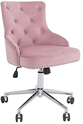 Amazon Com Dmf Furniture Home Office Chair With High Back Modern Design Velvet Desk Task Chair With Arms In 2020 Pink Office Chair Home Office Chairs Study Bedroom