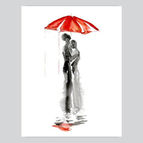 Under Umbrella Watercolor Painting - Giclee art prints, printed mugs and t-shirts, wall decals and mini decals for sale! Ship worldwide! Best price! SHOP NOW!
