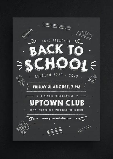 Back to School Chalkboard Style Flyer Template AI, PSD