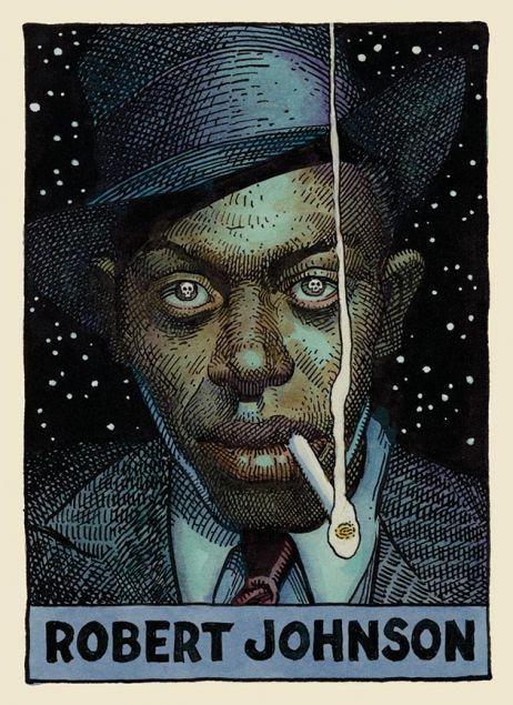 13 Cartoon Portraits Of Legendary Blues Artists Blues Music Poster Blues Artists Robert Johnson