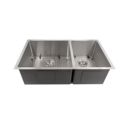 Zline Kitchen And Bath Executive Series 33 X 19 Double Basin Undermount Kitchen Sink With Basket Strainer Mic In 2020 Undermount Kitchen Sinks Sink