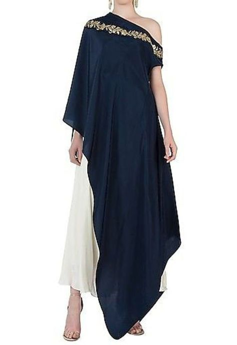 One Shoulder Cape Dress with Dhoti Pants For Women Top New Ethnic Stylish Indian Dress Source by etsy dress