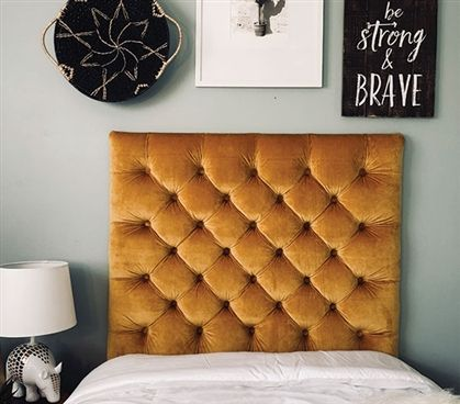 One Of A King Dorm Headboard For Twin Xl Sized Bed Beautiful Handmade Gold College Decor Comfortable Tufted Plush