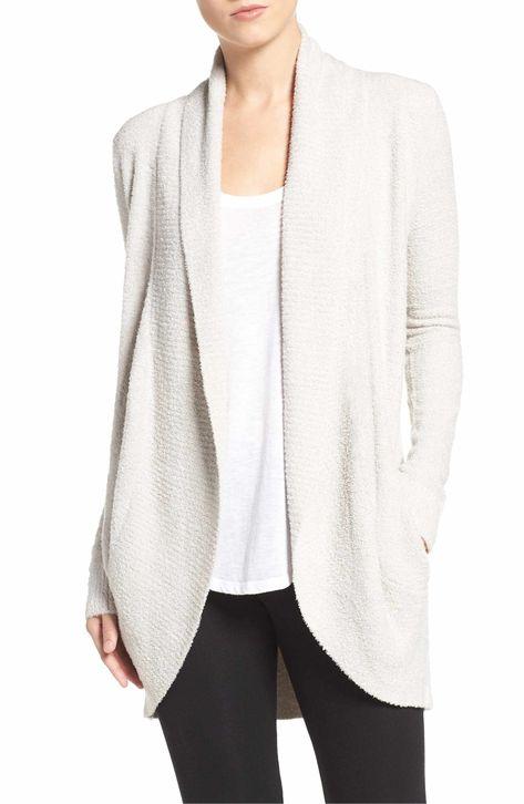 Main Image - Barefoot Dreams® CozyChic Lite® Circle Cardigan size xs/sm silver (white)