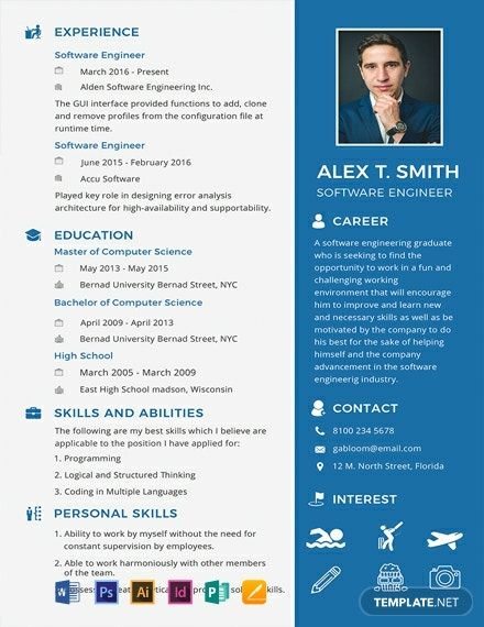 Free Resume Cv For Software Engineer Fresher Template Word Psd Indesign Apple Pages Illustrator Publisher Engineering Resume Templates Resume Software Engineering Resume