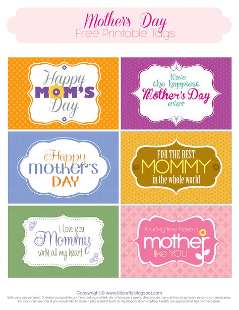 Mother's Day Free Printable Tags